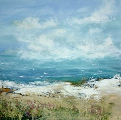Whispers in the Sand by Hudson Parkin - Original Painting on Box Canvas sized 39x39 inches. Available from Whitewall Galleries